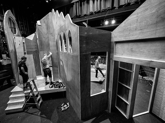 "Off-site set buiders ""Basement 94"" and college theatre staff get to assembling and decorating the set for Albert Herring. Britten Theatre, Royal College of Music, Prince Consort Road, London. June 13, 2015. Photo: Edmond Terakopian"