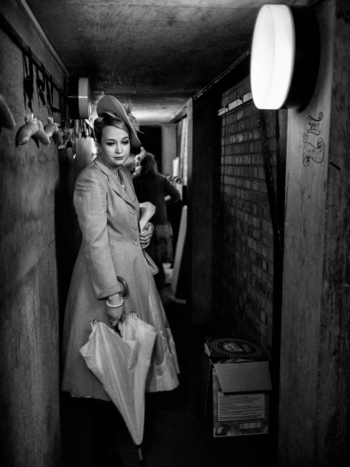 "Miss Wordsworth, played by Natasha Day, waits in the ""cross over"" tunnel backstage before going on to perform in the second act. Albert Herring by Benjamin Britten. Royal College of Music, Bitten Theatre, Prince Consort Road, London. July 06, 2015. Photo: Edmond Terakopian"