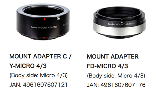 New Canon FD and Contax-Yashica Kenko adapters are now
