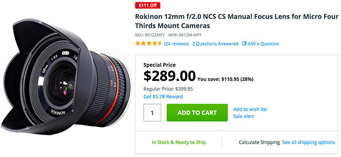 Weekend blowout Sale on Rokinon 12mm f/2 0 and 50mm T/1 5