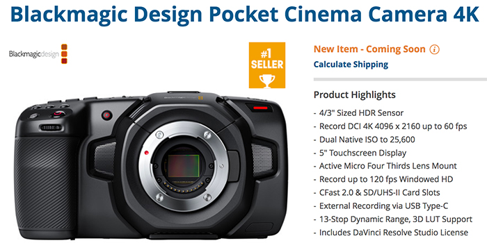 New Blackmagic Pocket Cinema Camera Tests 43 Rumors