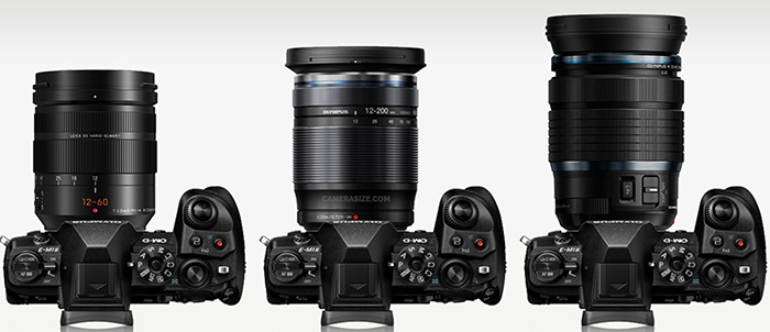 Olympus 12-200mm MFT versus 12-100mm size comparison
