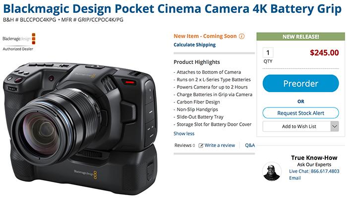 Blackmagic Has Announced A New Pocket Camera Battery Grip 43 Rumors